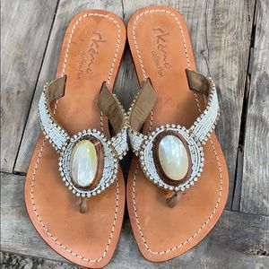Skemo Collection beaded leather sandals size 10